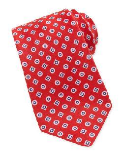 Kiton  - Geometric-Print Linen/Silk Tie, Red/Blue