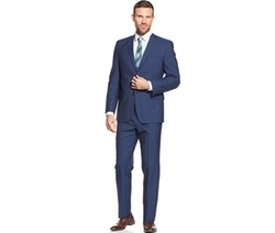 Andrew Marc  - Navy Sharkskin Solid Classic-Fit Suit