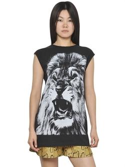 Stella Mccartney  - Sleeveless Cotton Jersey Lion T-Shirt