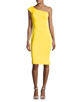 Jovani - One-Shoulder Scuba Cocktail Dress