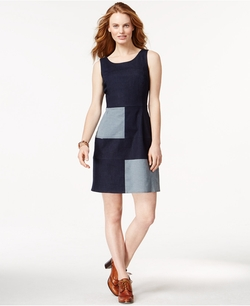 Tommy Hilfiger - Denim-Patch Colorblock A-Line Dress