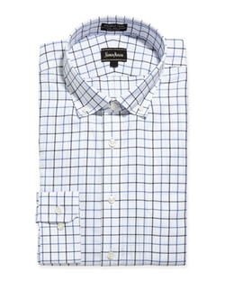 Neiman Marcus - Windowpane Check Dress Shirt,