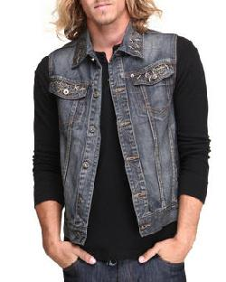 Parish - Men Dark Blue Berm Denim Vest
