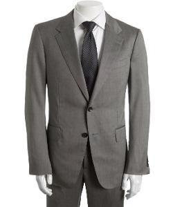 GUCCI  - Grey Micro Check Wool-Silk Two-Button Suit With Flat Front Pants