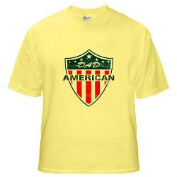 Artsmith Inc - Yellow Shirt American Dad US United States Flag Shield