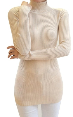 Finejo - Blend Polo Neck Long Sleeve Sweater