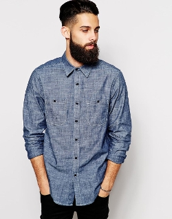 Asos - Chambray Shirt In Long Sleeve With 2 Pockets
