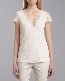 St. John Collection  - V-Neck Cap-Sleeve Lace Top, Porcelain/Cream