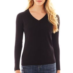 JC Penney - Long-Sleeve Fine-Gauge V-Neck Sweater