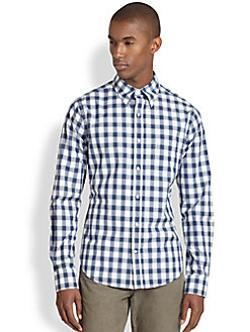 VINCE - Cotton Check Button-Front Shirt