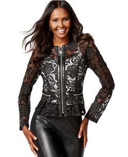Inc International Concepts - Faux-Leather-Trim Lace Peplum Jacket