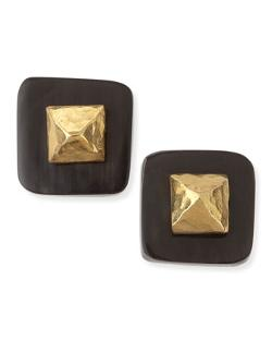 Ashley Pittman  - Shaba Dark Horn Bronze Pyramid Stud Earrings