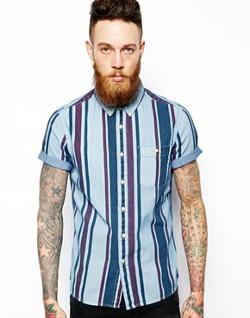 ASOS  - Denim Shirt In Short Sleeves With Stripe