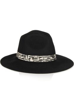 Karl Lagerfeld - Printed Grosgrain-Trimmed Fedora Hat