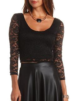 Charlotte Russe - Plunging Double Scoop Lace Crop Top