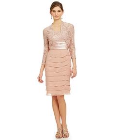 Jessica Howard - Tiered Lace Bolero Jacket Dress