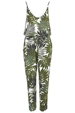 Topshop - Palm Leaf Print Strappy Jumpsuit