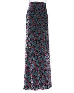 Diane Von Furstenberg - Cody Floral Velvet Maxi Skirt