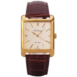 Alienwolf - Mens Mechanical Watches Square Brown Leather Band