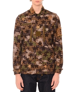 Valentino  - Camo-Star Print & Embroidered Jacket