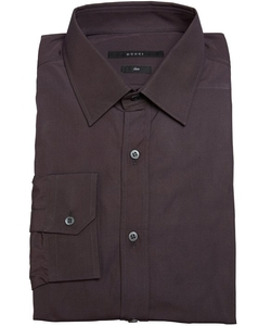 Gucci - Dark Brown Cotton Point Collar Slim Fit Dress Shirt