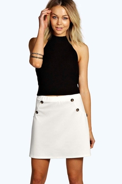 Boohoo  - Laura Button Detail Ponte A Line Mini Skirt