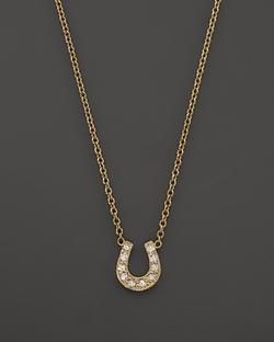 Zoë Chicco  - Pavé Diamond Baby Horseshoe Necklace