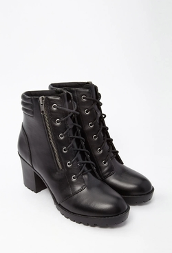 Forever 21 - Faux Leather Combat Boots
