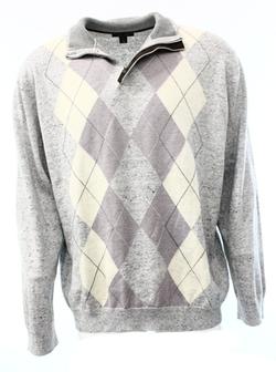 Tasso Elba  - Argyle Mens 1/2 Zip Mock Neck Knit Sweater