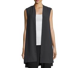 Eileen Fisher - Silk Georgette Crepe Long Vest