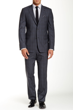 Ike Behar  - Plaid Two Button Notch Lapel Wool Suit