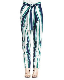 Chloe - Striped Tie-Waist Pants