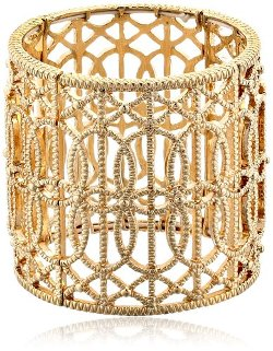 Jessica Simpson  - Large Textured Metal Stretch Bracelet