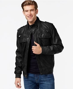 Calvin Klein - Faux-Leather Bomber Jacket