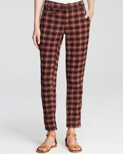 Free People - Crinkle Plaid Pegged Pants