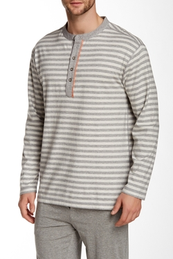 Majestic - Lounge Striped Knit Henley Tee Shirt