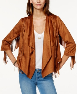 American Rag  - Fringed Faux-Suede Waterfall-Front Jacket