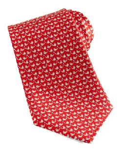 Salvatore Ferragamo  - Seal-Print Silk Tie, Red
