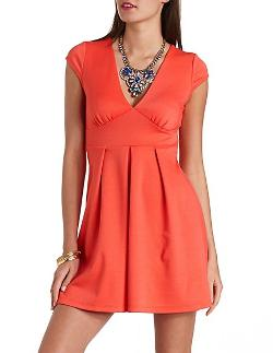Charlotte Russe - Cap Sleeve V-Neck Skater Dress