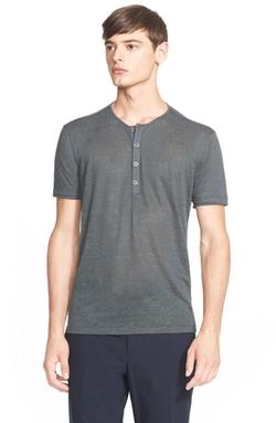 John Varvatos Collection  - Linen Henley Shirt
