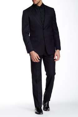 John Varvatos Collection  - Chad Solid Two Button Notch Lapel Wool Suit