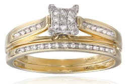 Amazon Collection - Diamond Rectangular Centre Bridal Ring Set