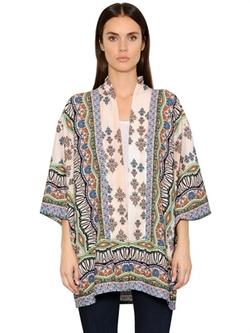 Black Coral  - Printed Viscose Crepe Kimono