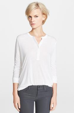 Vince  - Long Sleeve Contrast Placket Henley Top