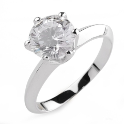 Aiyaya - Swiss Cubic Zirconia Diamond Solitaire Engagement Ring