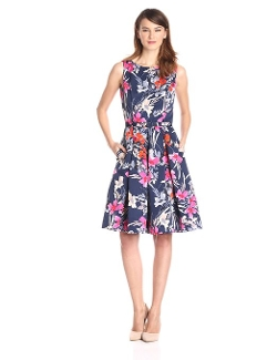 Eliza J - Sleeveless Floral Print Fit and Flare Dress