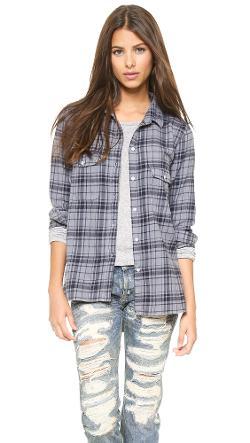 Sundry  - Plaid Flannel Button Down Shirt