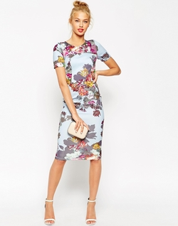 Asos  - Floral Print Scuba Body-Conscious Dress