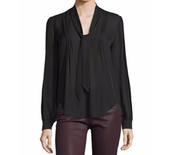 Paige Denim  - Lupita Tie-Neck Pintuck Silk Blouse