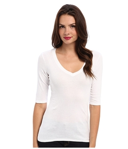 Michael Stars - Supima Elbow Sleeve Vee Neck Top